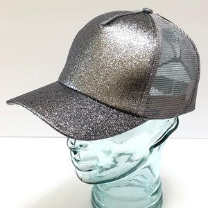 Silver Glitter Ponytail Baseball Cap Trucker Hat